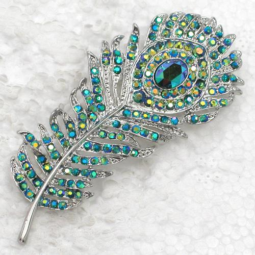 2019 wholesale fashion brooch rhinestone peacock feather pin