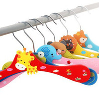 Wholesale Kids Pants Clothes Hangers - Free shipping New Cute Cartoon Animals Wooden kids Clothes Hanger baby children hanger 6 styles