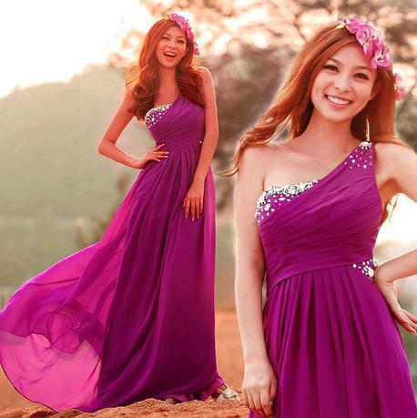New Dark Purple Crystal Zipper Wedding Dress ,Bridesmaid Costumes ...