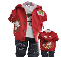 Wholesale Baby Sweat Suit Wholesale - 3pcs baby suits children clothes spring autumn outer hoody cotton T-shirt pants toddler sweat suits