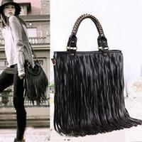 Wholesale Punk Tassel Fringe Handbag - Punk Tassel Fringe Womens Fashion pu Leather handbag Shoulder Bag Women's Tote bag,free shipping