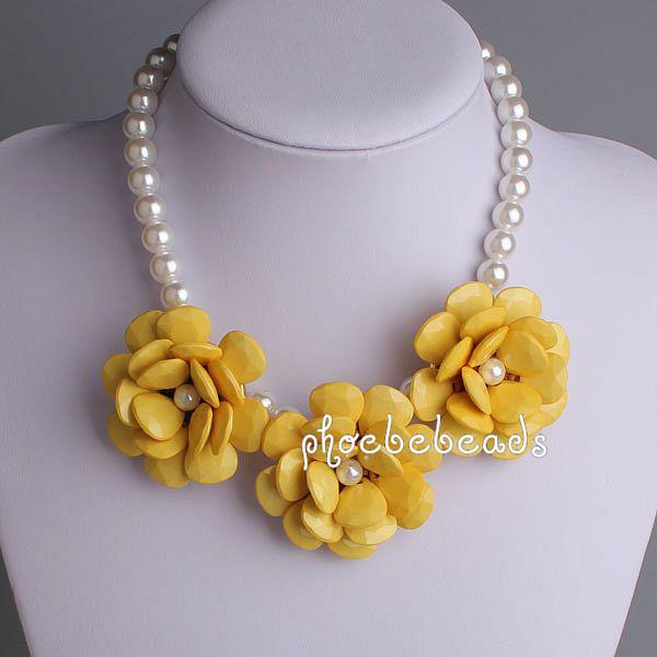 2018 2013 new statement bubble necklace yellow flowers with 2018 2013 new statement bubble necklace yellow flowers with artificial pearl pbn 072a from phoebebeads 4142 dhgate mightylinksfo