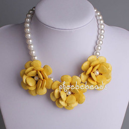 Wholesale Bubble Resin Necklace - Free Shipping 2013 New Statement Bubble Necklace Yellow Flowers with Artificial Pearl 6Pcs Lot PBN-072A