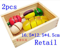 Wholesale Set Colorful Children Unisex - Retail Hot sale mother garden colorful wooden play house fruit and vegetable cut children toy