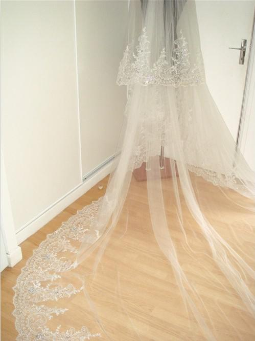 Royal Cathedral Train Two Layers 2013 Elegant 4 M Lace Edged ...