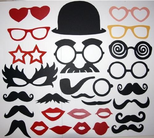 Heet verkoopfotografie Set van 29 fotocabine Prop Moustache oogglazen lippen op een stokmasker