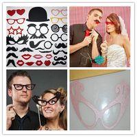 masque lèvres moustache bâton achat en gros de-HOT SELL Ensemble de photographie de fête Ensemble de 29 lunettes Photo Moustache Lunettes Eye Lips sur un bâton de masque