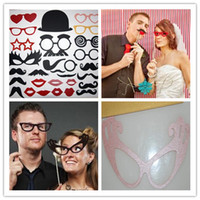 Verres À Lèvres Pas Cher-HOT SELL Fête Photographie Ensemble de 29 Photo Booth Prop Moustache Eye Glasses Lèvres sur un Stick Mask