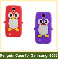 Wholesale Penguin S4 - Wholesale 3D Penguin Case for S4 i9500 Cartoon Soft Case for Samsung Galaxy S4 i9500 10pcs lot