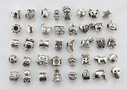Wholesale Silver Euro Bracelets - 40PCS Assorted antiqued silver euro beads for charm bracelet #22787