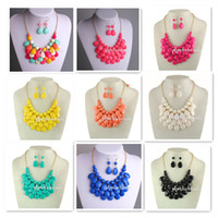 Wholesale Bubble Bib Fashion - Free Shipping 2013 Hot Sale Bubble Bib Necklace with Earrings Mix Colors 24Pcs Lot for Fashion Women