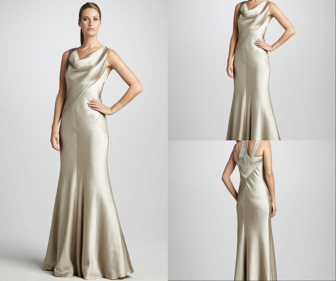 Cowl Neck Wedding Gown: WATCH!!!Cowl Neck Satin Mermaid Smooth Beaded Back