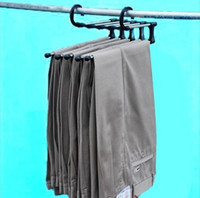 Wholesale Metal Trouser Hangers Wholesale - Fashion Hot Plastic Magic trousers hanger rack multifunction pants closet hanger rack 5 in one