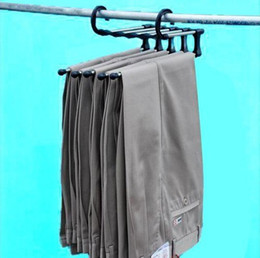 Wholesale Plastic Trousers - Fashion Hot Plastic Magic trousers hanger rack multifunction pants closet hanger rack 5 in one