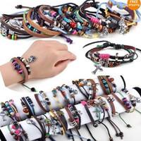 Wholesale Braided Bead Cord Bracelet - 48X New Men Women Braid Leather Cord Bead Cross Heart Bracelet Wristband Hemp Surfer Free Shipping[B374-B389*3]