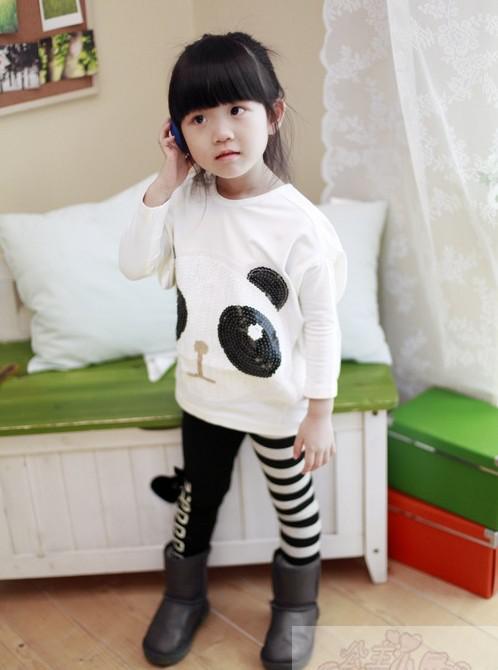 Trajes de ocio para niñas, de dos piezas, camiseta holgada con estampado de panda + leggings con lazo a rayas, lote de 5 pzas