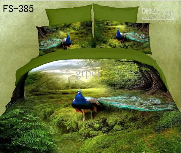 3d Green Peacock Bird Feather Print Bedding Comforter Set
