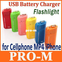 Wholesale Emergency External - Cheap Portable USB External Emergency Battery Charger+ Flashlight for MP4 Cellphone iPhone Free