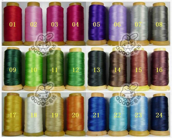 NO15 one roll 1.2mm folded yarns DIY jewelry findings Nylon Beading Thread Cord String 24 colors