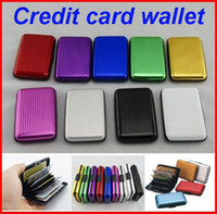 Wholesale Aluminium Credit Card Wallet Cases - 9 colours Aluminium Credit card wallet cases card holder bank case aluminum wallet free shipping DHL