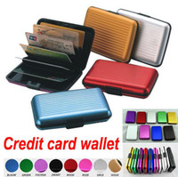 Wholesale Wholesale Aluminium Wallets - free shipping 10pcs Aluminium Credit card wallet case card holder bank case aluminum wallet 9 colour