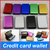 Wholesale Aluminium Credit Cards Holder - 5pcs lot Aluminium Credit card wallet cases card holder bank case aluminum wallet mix 9 colours