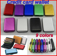Wholesale Credit Card Security - New Aluminum wallet security Credit card wallets 9 colors mixed card cases card holder by DHL 100pcs