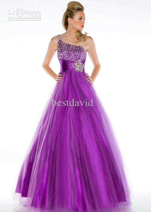 2013 Cheap Purple Backless Ball Gown One Shoulder Crystal Prom ...