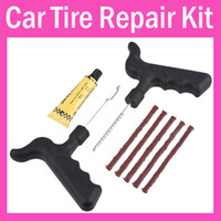Wholesale Tyre Cement - 8set lot Wholesale Car Bike Auto Tubeless Tire Tyre Puncture Plug Repair Cement Tool Kit Safety