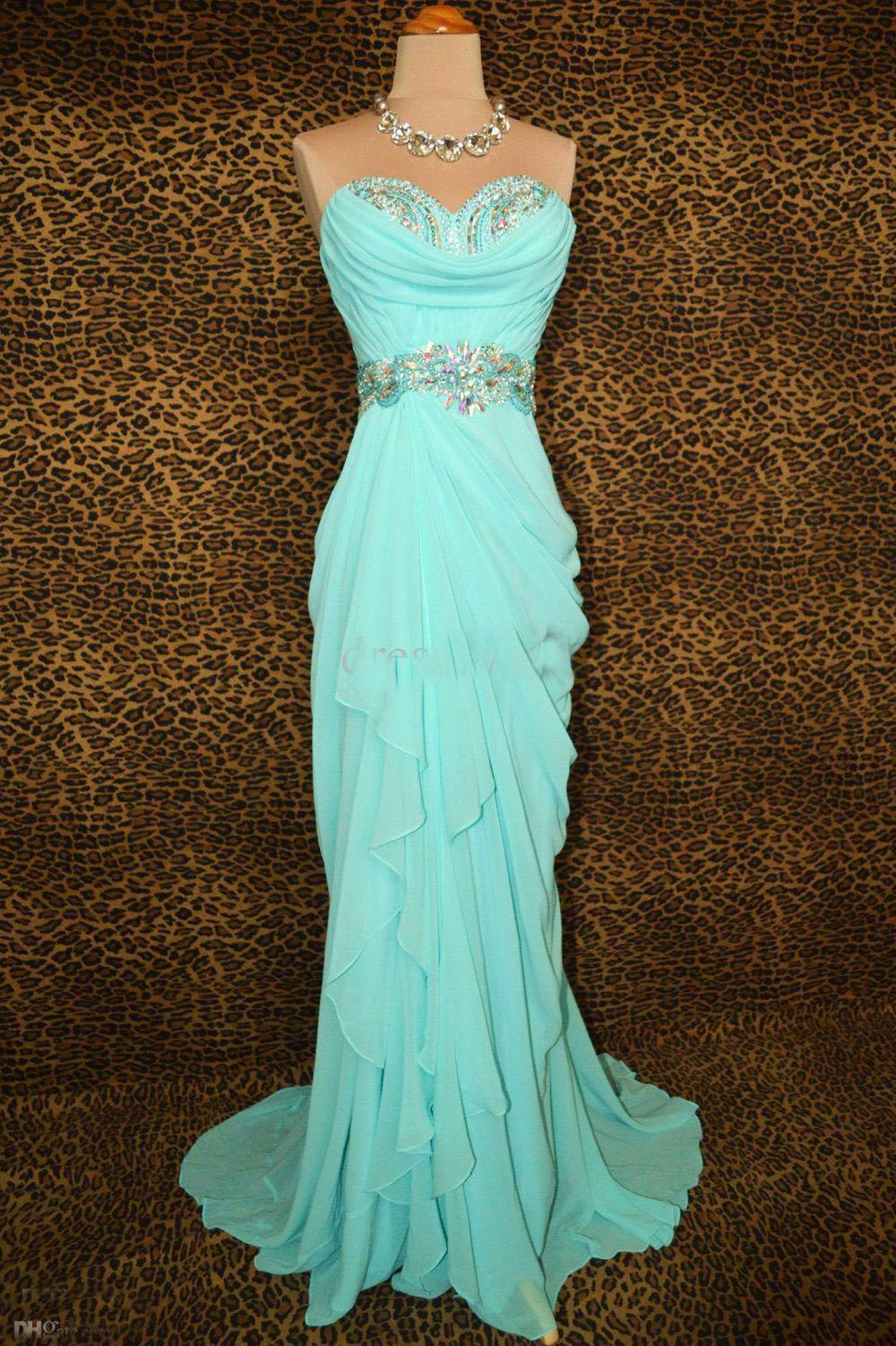 Wholesale Custom Made No Choice Ice Blue Prom Pageant Evening Formal ...