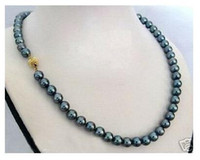 Wholesale Pearl Peacock - 8-9mm south sea peacock green pearl necklace 18inch