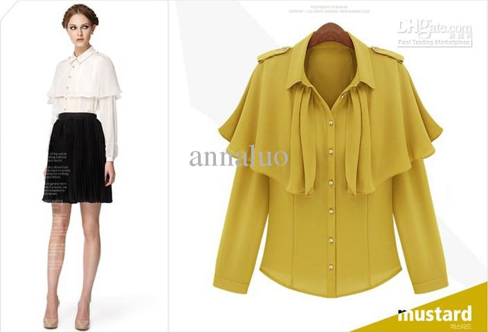2017 Women's Shirt Fashion The Lapel Yellow Sleeve Slim Pleated ...