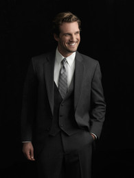 Wholesale Color Charcoal - Custom Made Size and Color Side Vent Charcoal Grey Groom Tuxedos Groomsmen Men Wedding Suits(Jacket+Pants+Tie+Waistcoat)H100
