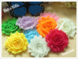 Wholesale Shabby Accessories - 50pcs Kid's Shabby Lace Flower Baby Girl's Hair Accessories Kid's Headwear Cute Hair Head Flower