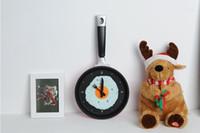 Wholesale Eggs Pan Wall Clock - fashion design fried eggs pan shaped clock decorative wall quartz clock Free Shipping
