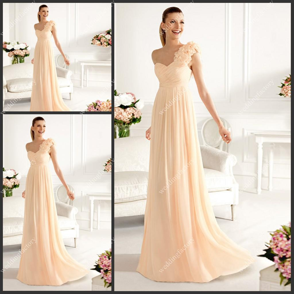 Light orange bridesmaid dresses good dresses chiffon long bridesmaids dresses one shoulder a line pleats long evening gowns with delicate flowers hot ombrellifo Gallery