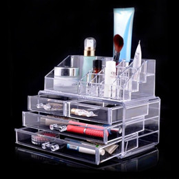 Wholesale chinese jewellery - USA INSTOCK !!! New Fashion Clear Acrylic Cosmetic Box Jewellery Makeup Organizer Case SF-1155