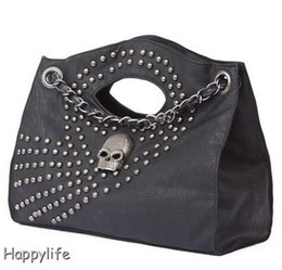Wholesale Skull Rivets For Leather - Punk Skull Bags Rivet Chain Fashion PU Leather Handbag for Women Shoulder Bags Wholesale Price 9002