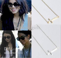 Wholesale Sideways Crosses Necklace - 2017 new Fashion accessories Lady   girl Crystal Gold Silver Horizontal Sideways Cross Necklace Side Celebrity necklace 10pcs lot