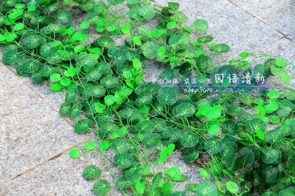 2.5M long Simulation Ivy Rattan Climbing Vines Green Leaf Artificial silk begonia Wall Decoration Home Decor free shipping