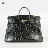 totes do couro bolsas venda por atacado-Mulheres Designer de crocodilo bolsas de couro de Luxo 35 cm de largura de viagem casual saco preto estável resistente top quality frete grátis