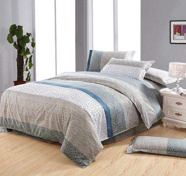 White Blue Gray Brown Gray Stone Flower Cotton Queen Size Duvet ... : brown quilt cover - Adamdwight.com