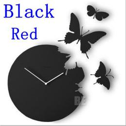 большие желтые часы Скидка Розничная Оптовая-бабочка настенные часы / высокое качество настенные часы / декоративные DIY украшения дома Ницца