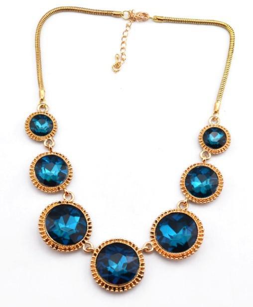Nueva Encanto mezcla de estilo europeo de oro chapado de aleación de cristal Gargantilla Collar Redondo