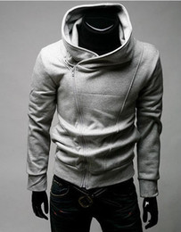 Wholesale Fashion Pullover Hoodies - 3Color 5Size hot Fashion Grey Blue Mens Slim Fit Sexy Top Designed Hoodies Sweatshirts Men's Clothing