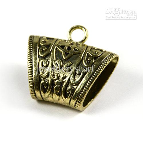 Hot Jewelry Scarf Pendants Alloy Antique Bronze Slide Tube Charm, ACMIX
