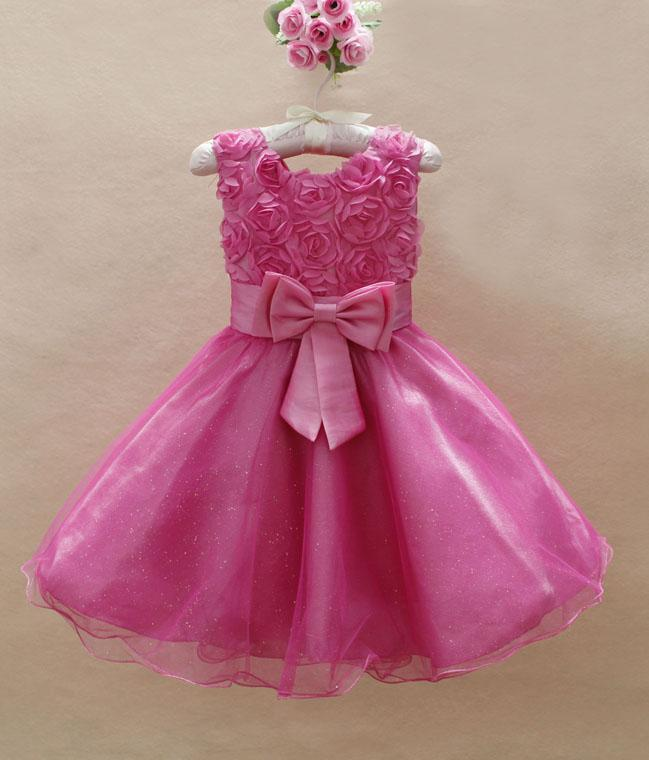 2018 Baby Girls Princess Wedding Party 3d Flower Rose Fashion Dress Kids Girl Bow Tutu Lace Tulle Dresses From Cnbestwholesle 9224