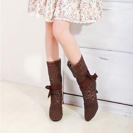Wholesale summer knitted high heel boots - New Women Knitting wool Hollow out Summer boots High heels boots
