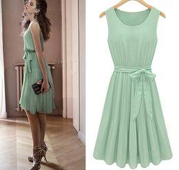 Wholesale Hot Women Mini Skirts - hot sale!! Europe and America 2016 fashion office elegant female Pleated skirt mint green chiffon bow belt sleeveless women's dress
