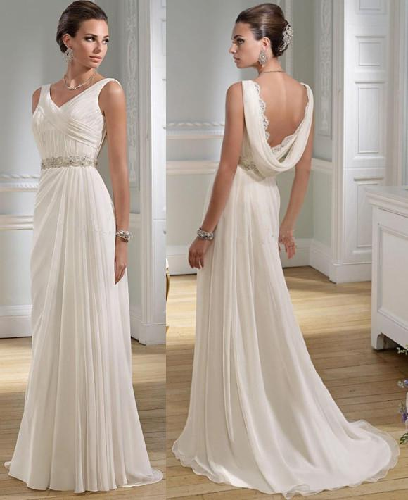 Grecian Style Wedding Gown: Sexy V Neck Greek A Line Chiffon Summer Wedding Dresses